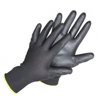 Poliestera cimdi ar melnu poliuretāna pārklājumu plaukstas zonā, 10 izmērs, 12 pāri