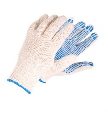 Knitted gloves with PVC, white, 700g, Size 12