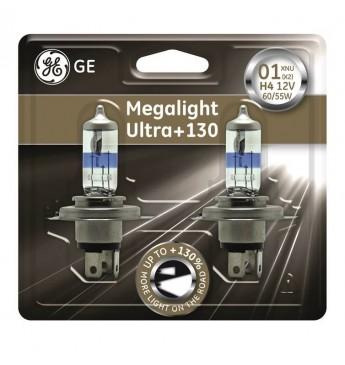 GE auto spuldze 12V H4 60/55W, MEGALIGHT ULTRA +130, blisterī 2gab