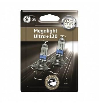 GE auto spuldze 12V H7 55W, MEGALIGHT ULTRA +130, blisterī 2gab