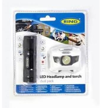 RING LED lukturu komplekts, kabatas lukturis 9LED+galvas lukturis, 6xAAA