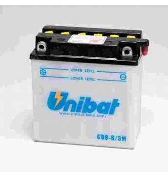 UNIBAT 12V 9Ah Moto akumulators, 130A, L